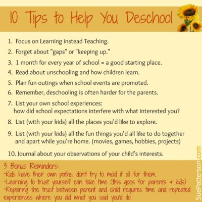 10 Tips to Help You Deschool