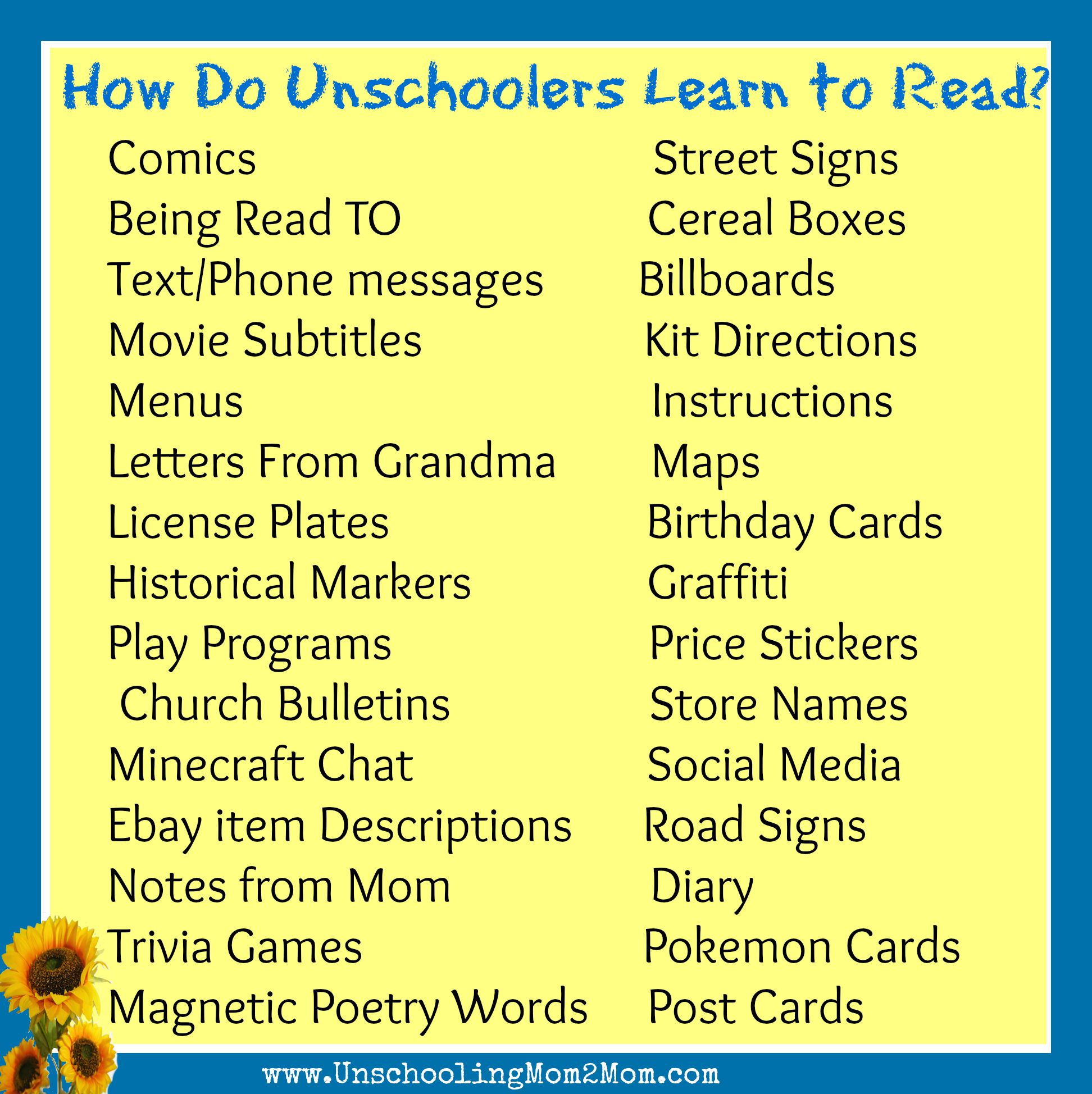 Learning to Read – Unschooling Mom18Mom