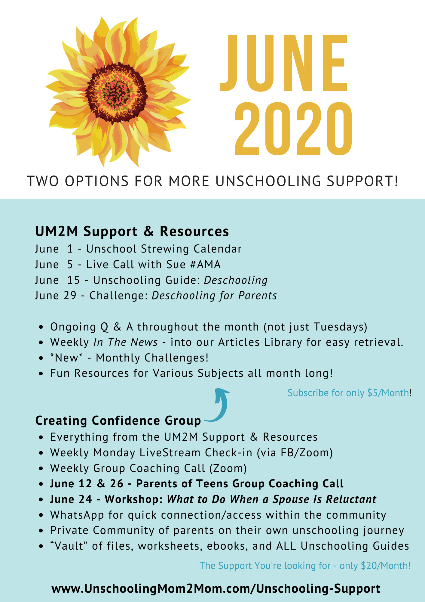 Unschooling Support in June